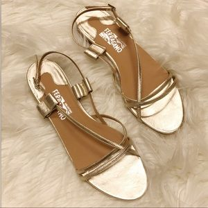 Ferragamo gold strap sandal